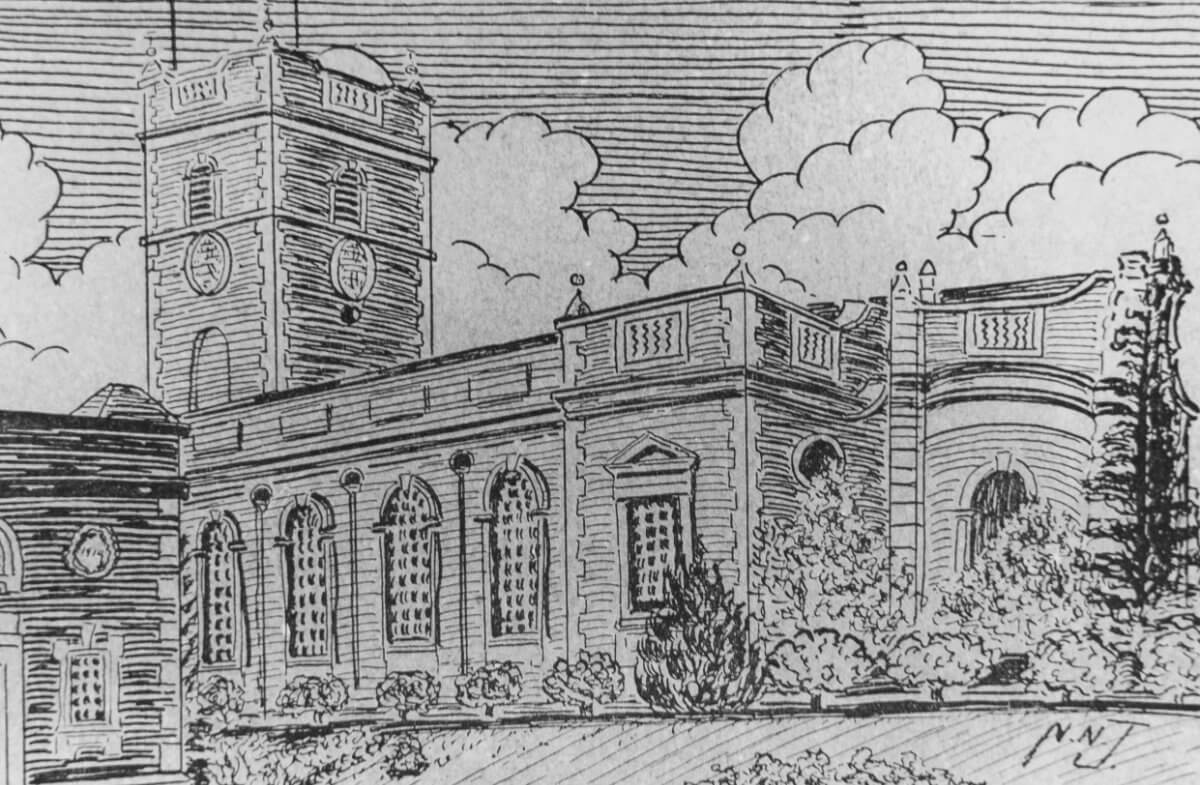 Pencil sketch of St Thomas' Church Stourbridge