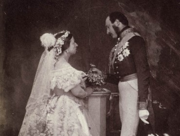 In 1854, Queen Victoria and Prince Albert re-enact their 1840 marriage ceremony