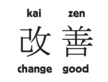Japanese kaizen including translation to English (change good)